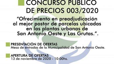 Photo of VENTA DE LOTES EN SAO Y LAS GRUTAS DE CONTADO – LLAMADO A CONCURSO PÚBLICO DE PRECIOS N° 003/2020