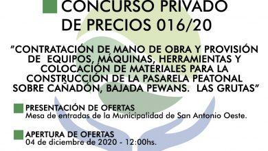 Photo of CONCURSO PRIVADO DE PRECIOS 016/20