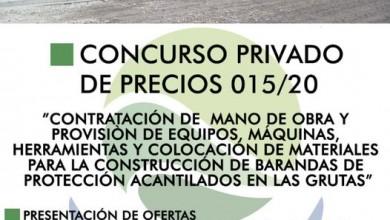 Photo of CONSTRUCCIÓN DE BARANDAS DE PROTECCIÓN ACANTILADOS EN LAS GRUTAS, CONCURSO PRIVADO DE PRECIOS N° 015/2020