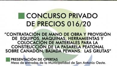 Photo of CONSTRUCCIÓN DE LA PASARELA PEATONAL SOBRE CAÑADÓN, BAJADA PEWANS DE LAS GRUTAS, CONCURSO PRIVADO DE PRECIOS N° 016/2020