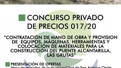 Photo of CONSTRUCCIÓN DEL PUENTE ALCANTARILLA, LAS GRUTAS, CONCURSO PRIVADO DE PRECIOS N° 017/2020