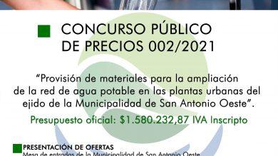 Photo of LLAMADO A CONCURSO PÚBLICO DE PRECIOS N°002/2021