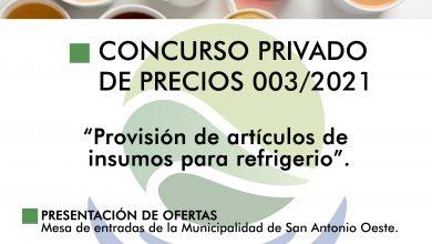 Photo of LLAMADO A CONCURSO PRIVADO DE PRECIOS N°003/2021