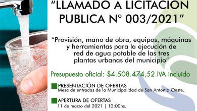 Photo of RED DE AGUA – LLAMADO A LICITACIÓN PÚBLICA N° 003/2021