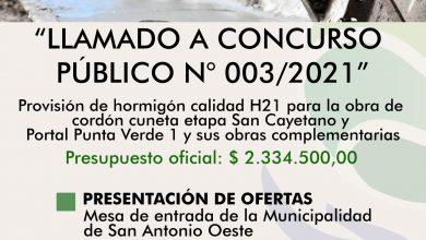 Photo of CORDÓN CUNETA, LLAMADO A CONCURSO PÚBLICO DE PRECIOS N° 003/2021