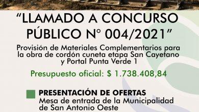 Photo of CORDÓN CUNETA, LLAMADO A CONCURSO PÚBLICO DE PRECIOS N° 004/2021