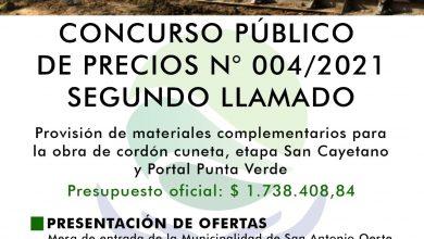 Photo of SEGUNDO LLAMADO CONCURSO PÚBLICO DE PRECIOS N° 004/2021- CORDÓN CUNETA