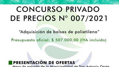 """Photo of LLAMADO A CONCURSO PRIVADO DE PRECIOS N° 007/2021 PARA LA """"ADQUISICIÓN DE BOLSAS DE POLIETILENO"""""""
