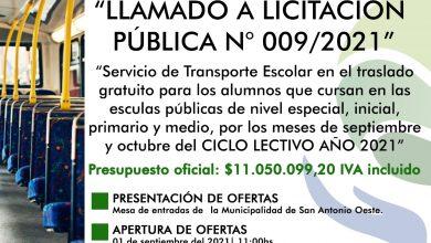 Photo of LICITACIÓN PÚBLICA PARA EL SERVICIO DE TRANSPORTE ESCOLAR GRATUITO