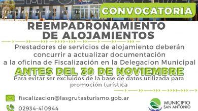 Photo of CONVOCAN AL REEMPADRONAMIENTO DE ALOJAMIENTOS PARA LA TEMPORADA 2021/22